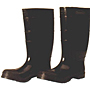 Black PVC, Bar-Cleat Outsole, Plain Toe Boots- 16 inch Long